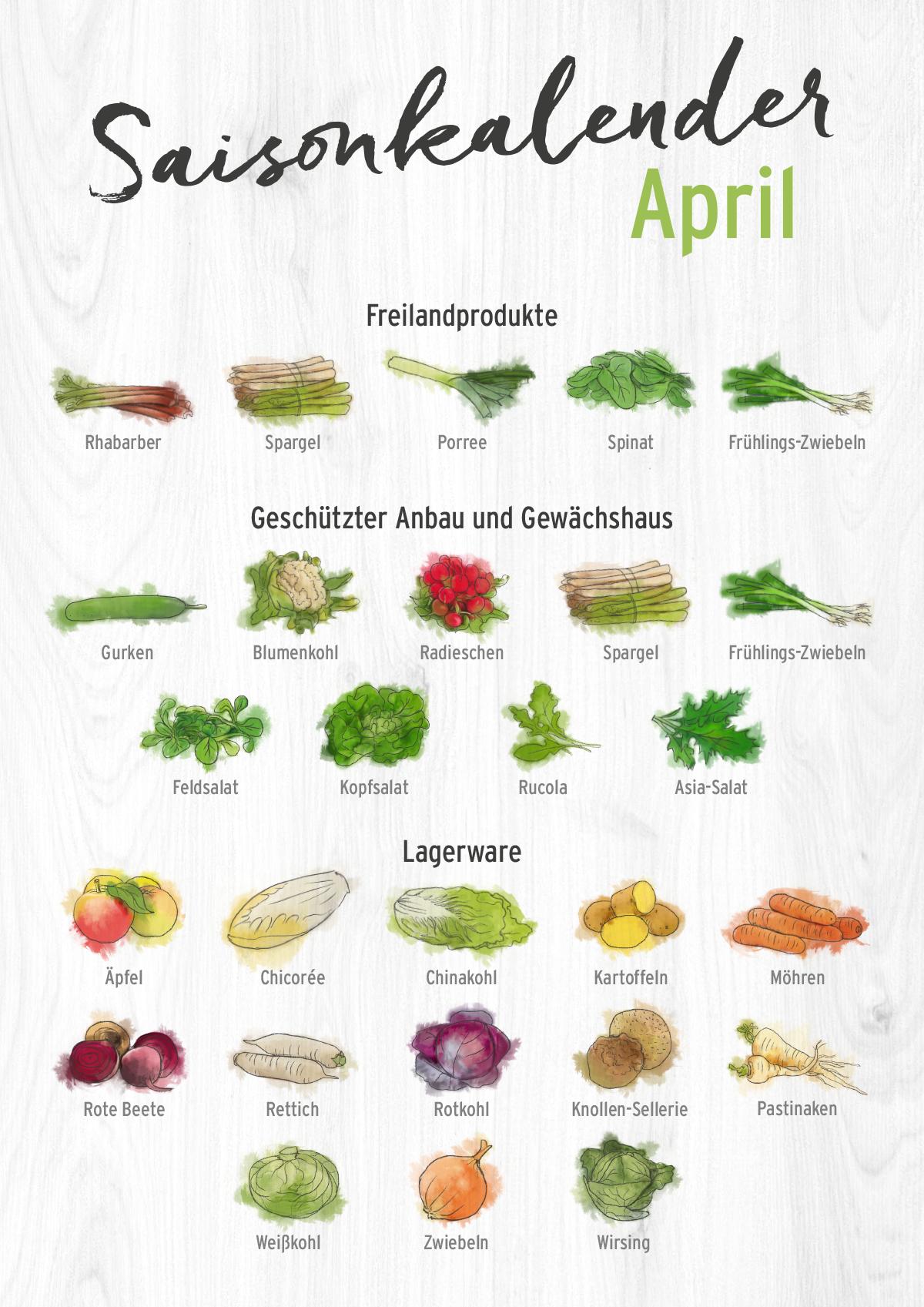 Saisonkalender April Saisonkalender Obst Und Gemuse Saisonkalender Saisonkalender Gemuse