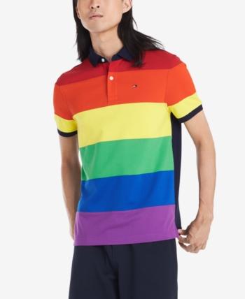 Tommy Hilfiger Men/'s Blue Multi Colorblock Striped Custom Fit Short Sleeve Polo