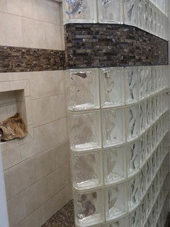 Curved Glass Block Shower Wall With Ready For Tile Base Cleveland Ohio /  Innovate Building Solutions