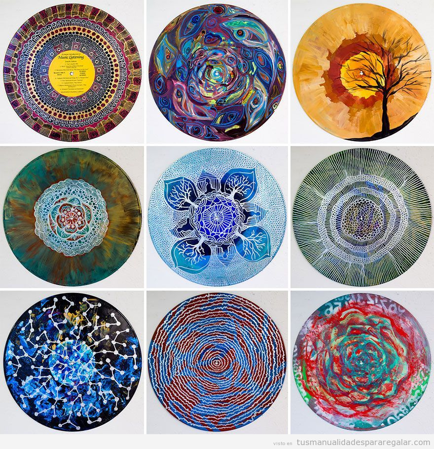 mandalas pintados en discos vinilo arte Pinterest Rock art