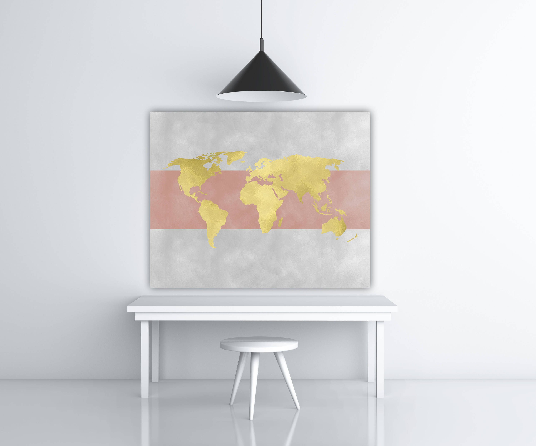 world map print gold foil wall art travel printable pink and grey wall art