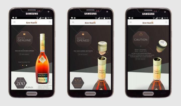 0酒瓶的酒蓋植入了 NFC 晶片,打開相應 App,將手機靠近酒蓋, App 就能立刻識別出這瓶酒是否為真品或是否被開啟過。同時,用戶還能因此獲得與這瓶酒相關的背景知識以及人頭馬公司的活動、廣告等。14