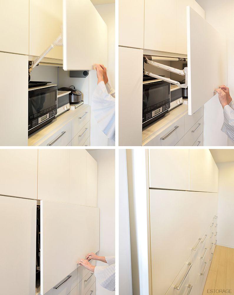 身長に合わせて 使いやすく設計されたキッチン収納 扉を閉じると全て隠せるフラットデザイン 収納ラボ アーキテリア 室内建築 収納家具 キッチン収納 キッチン 食器棚 オーダー家具 オーダーメイド家具 収納 インテリアオプション インテ キッチン