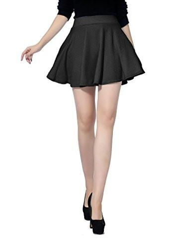 e4bf282c29190 Women'S Girls Stretch Waist Flared Plain Pleated Casual Mini Skater Skirt