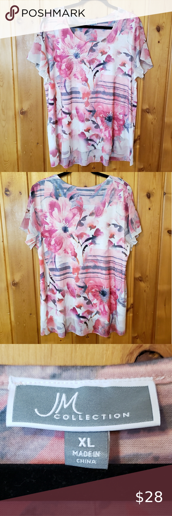 JM Collection Sheer Overlay Top