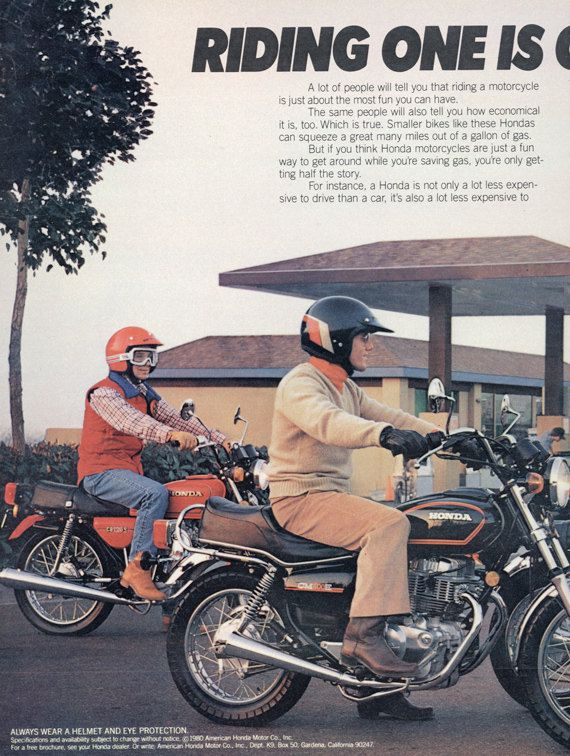 1980 Honda Motorcycle Ad Friends Riding Motorbikes By