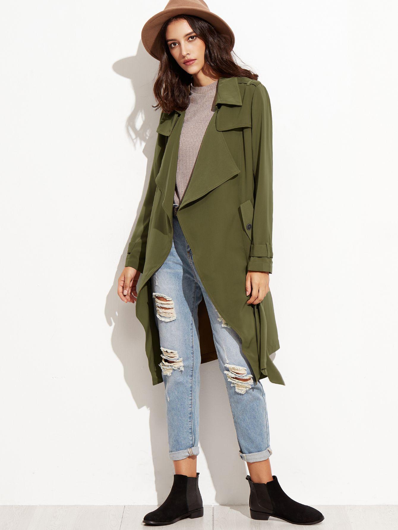 036de77fc Shop Olive Green Wrap Trench Coat With Gun Flap Detail online. SheIn ...