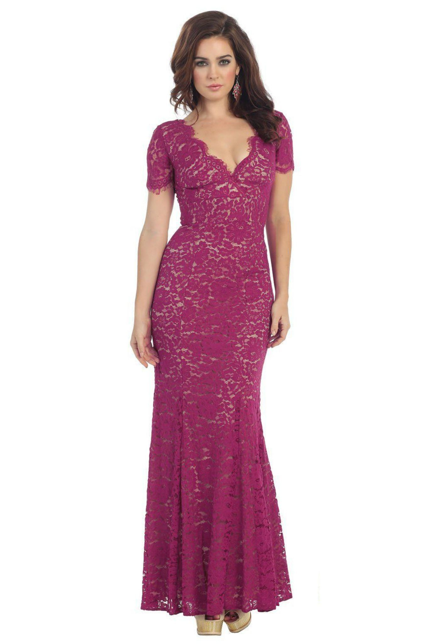 Unique Elegant Long Magenta Formal Mother of the Bride Dress ...