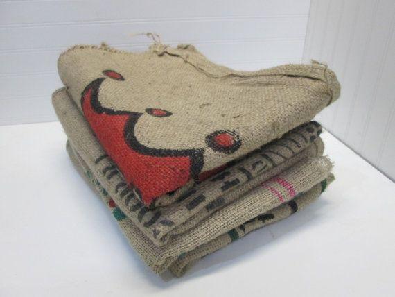 Burlap Coffee Bags 4 Burlap Coffee Sacks Coffee Bags by ZoonVanOom, $18.00