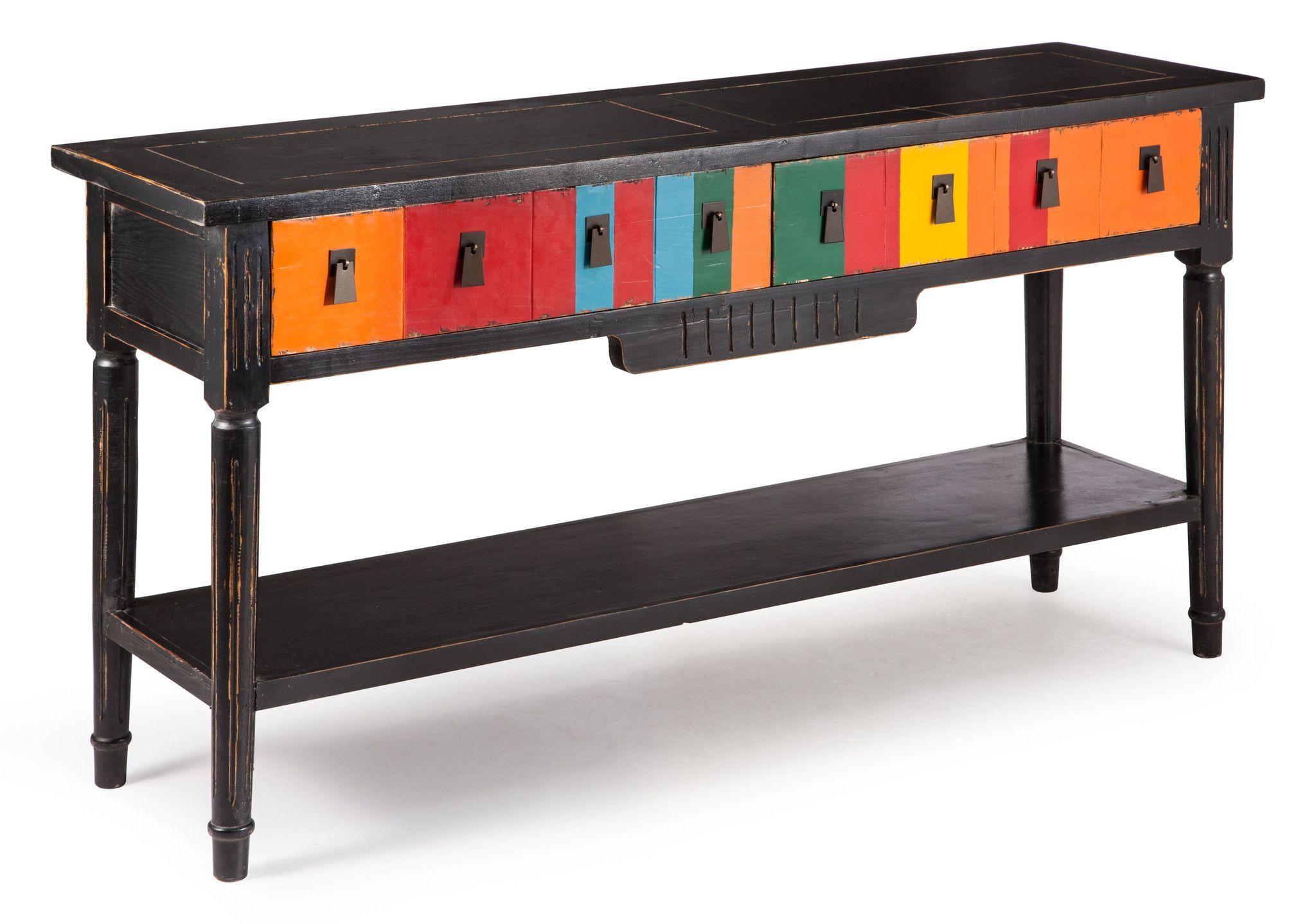 Vale Console Table Multicolor Distressed Black   Console tables ...