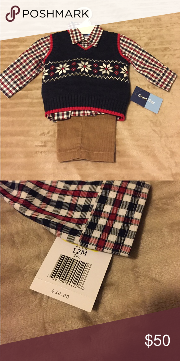 NWT 3 PIECE SET Handsome outfit that includes a sweater vest, corduroy pants & a plaid shirt.  Smoke-free home 🏡 Matching Sets
