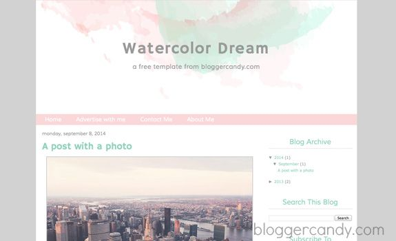 Blogger Candy | Watercolor Blogger Template | http://