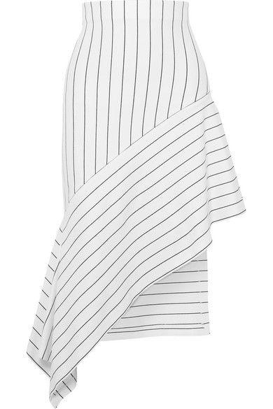 Rosetta Getty - Asymmetric striped stretch-jersey midi skirt