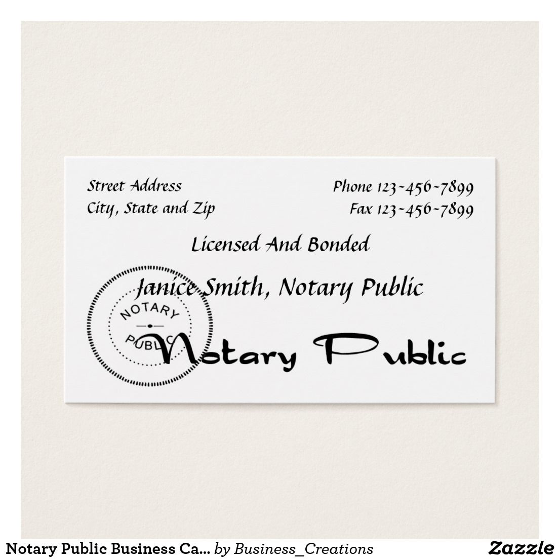 Notary Public Business Card Custom Check Out More Business Card Designs At Http Www Zazzle Com Business Creations Notary Public Business Notary Public Notary