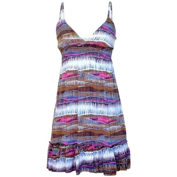 Brown Pink & White Bright Print Junior Cut Summer Sun Dress (20 AUD) ❤ liked on Polyvore featuring dresses, brown, pink dress, brown dress, empire waist summer dresses, sun dress and white ruched dress