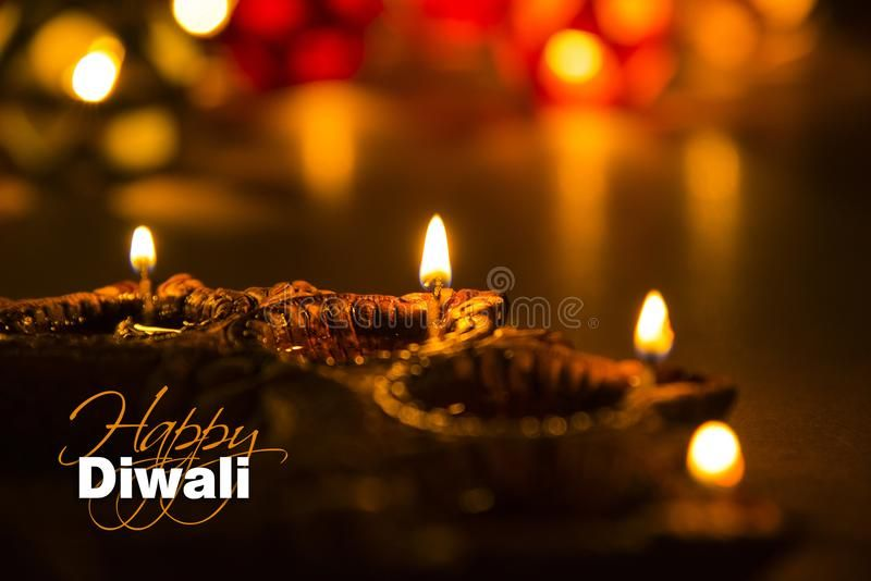 Happy Diwali - Diwali Greeting Card With Illuminated Diya Stock Photo - Image of artistic, greeting: 101310372
