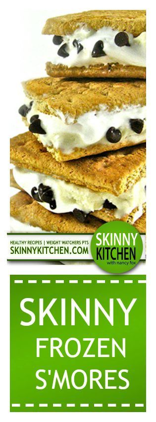 Skinny Frozen S'mores! If you love s'mores, you'll really love these luscious, low fat frozen treats. Each has 150 calories, 3g fat & 4 Weight Watchers POINTS PLUS. http://www.skinnykitchen.com/recipes/you%E2%80%99ll-flip-for-these-skinny-frozen-smores-no-campfire-needed/