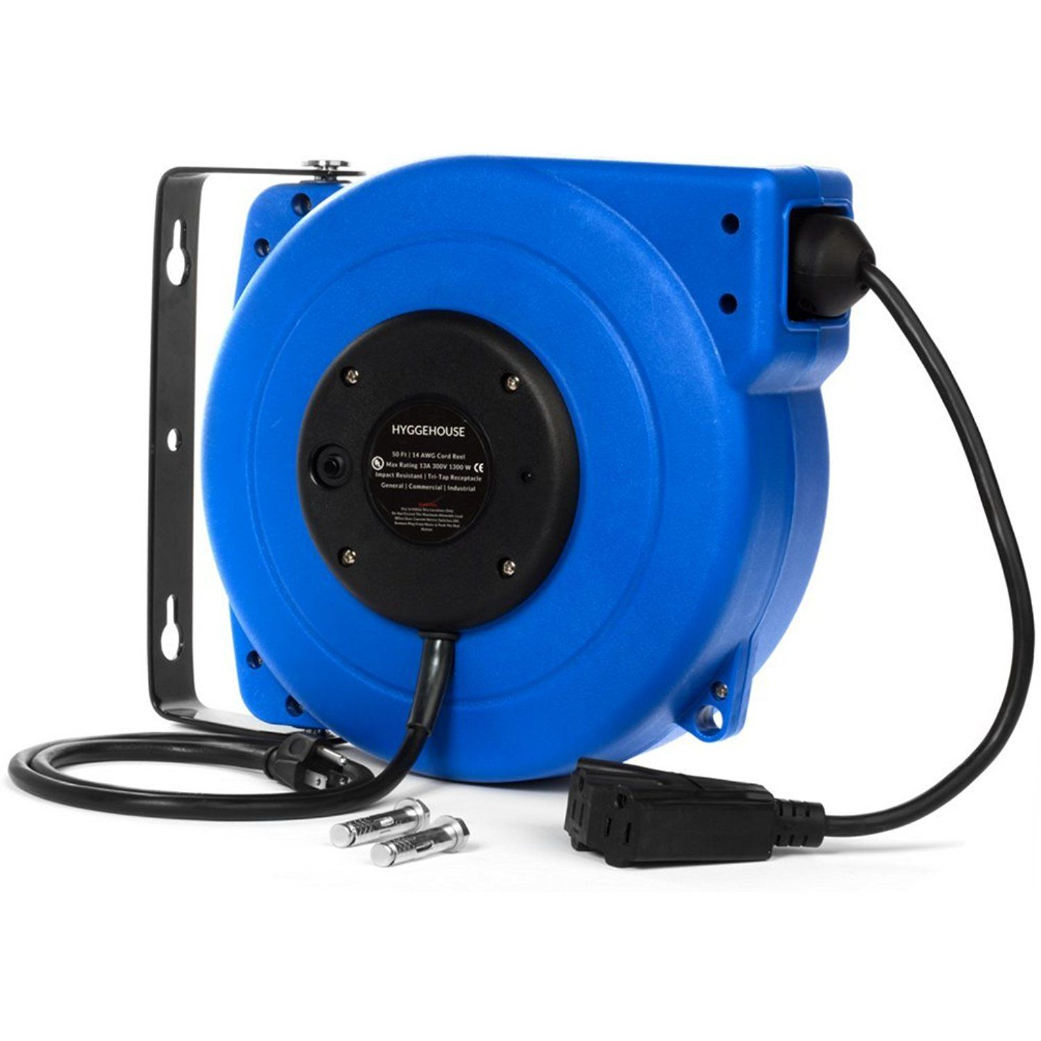 Retractable Power Cord >> High Performance 50ft Retractable Extension Cord Reel 14awg