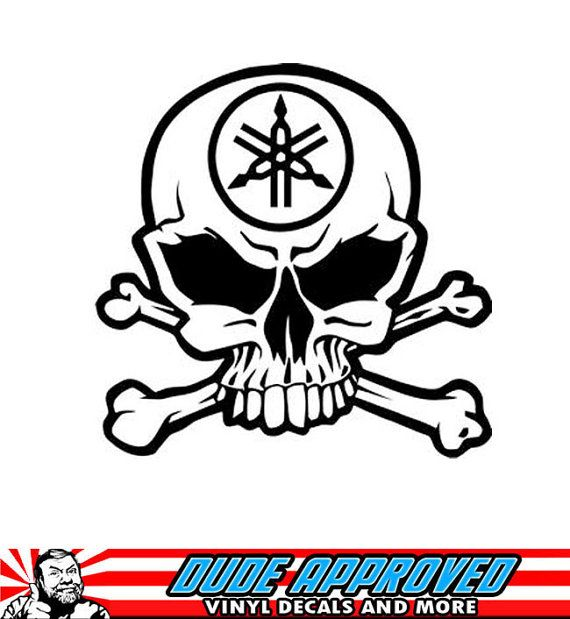 YAMAHA SKULL STICKER DECAL  MOTORCYCLE   *ANY SIZE OR COLOR AVAILABLE