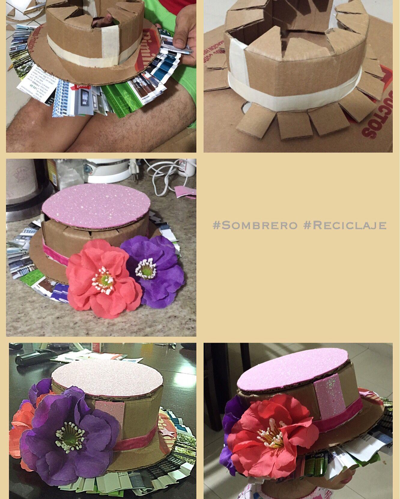 Sombrero hecho con algunos materiales reciclados. Cartón y papel .