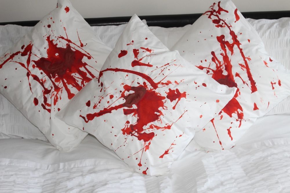 Set of 3 Handmade Blood Splatter Zombie Dead Pillowcases - Halloween - zombie halloween decorations
