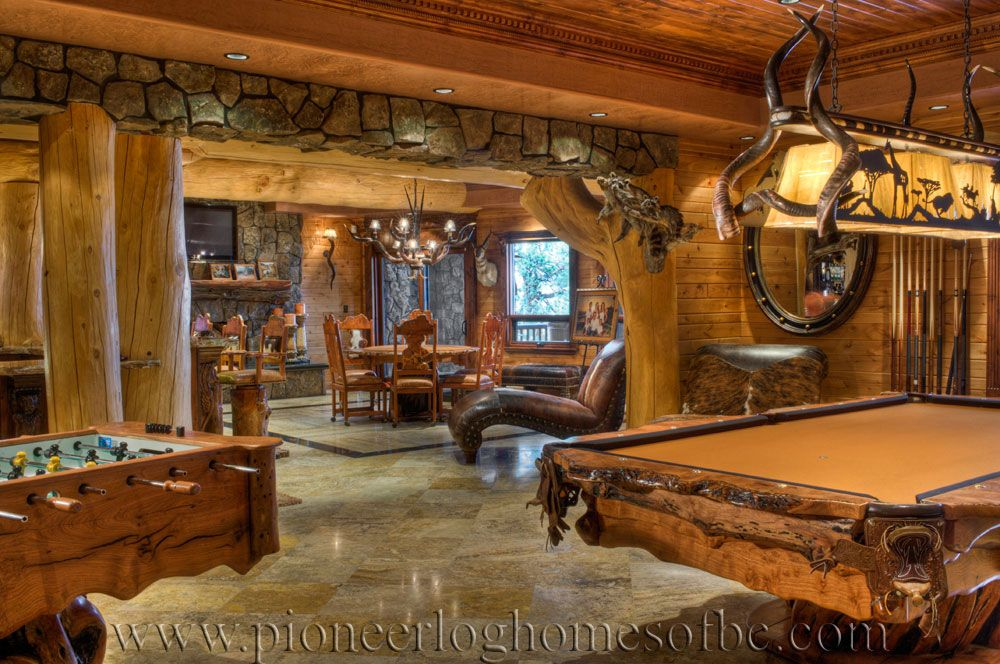 Games room a my man 39 s dream home pinterest basement for Log cabin basement ideas