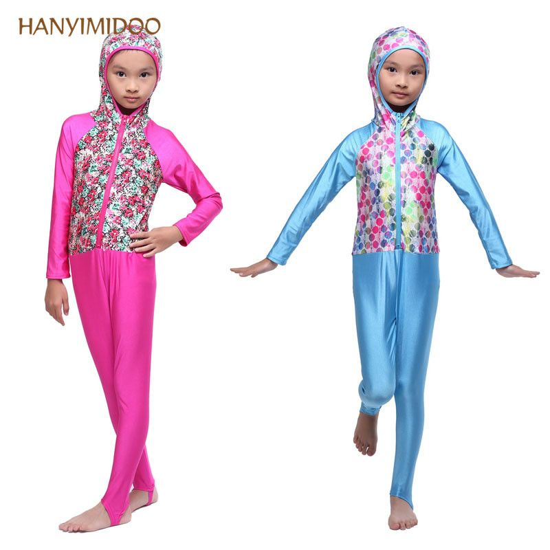4d45f08de8cea HANYIDOO High Quality Muslim Kid Girls Swimwear Islamic Arab Modest Bathing  suit Hijab Swimsuit Full Cover Beach Wear Bath wear tudung <3 AliExpress ...