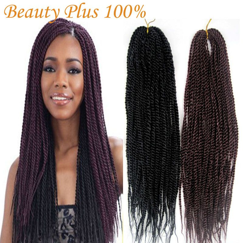 Synthetic Braiding Hair Senegalese Braids 22 Folded Kanekalon Twist Crochet Braid Extensions