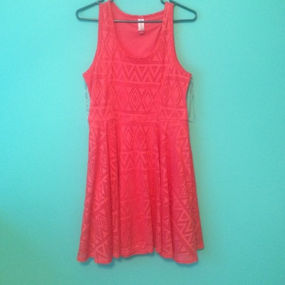Orange-pink/peach summer sun dress This is a beautiful summer dress bought from marshals! It's in great condition, only worn once for a couple of hours. It hugs at the waist and stops right below the knee. No Boundaries Dresses Midi