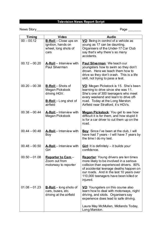 Tv news report script example  School