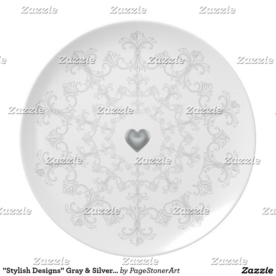 """Stylish Designs"" Gray & Silver III Monogram Plate"
