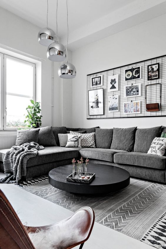 Scandinavian Living Rooms Grey Sofa With Interior In Silver And Black Modern Grey Living Room Small Living Room Design Farm House Living Room