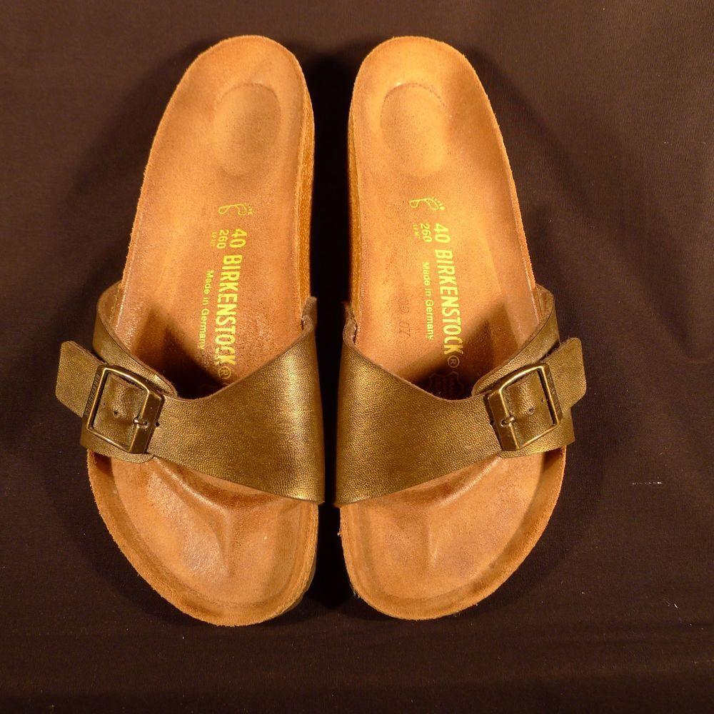 27f6fbc6e8d0 Birkenstock Madrid Sandals Bronze Ladies 40 Size 9 US Buckle Slide Germany