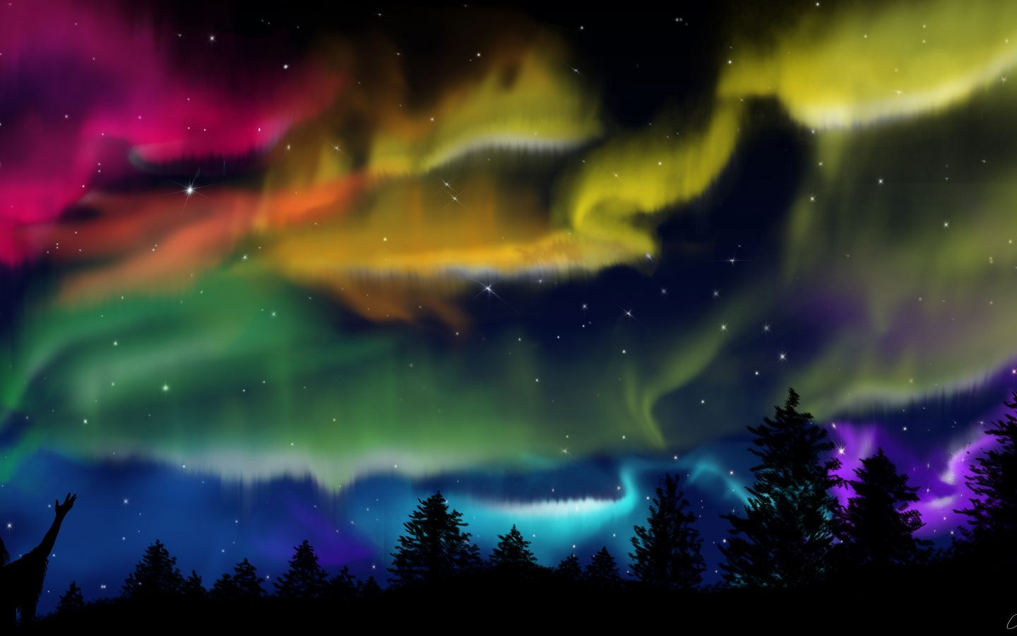 1440x900 Northern Lights Forest Colorful Sky Silhouette Wallpaper Northern Lights Forest Silhouette Digital Art Prints