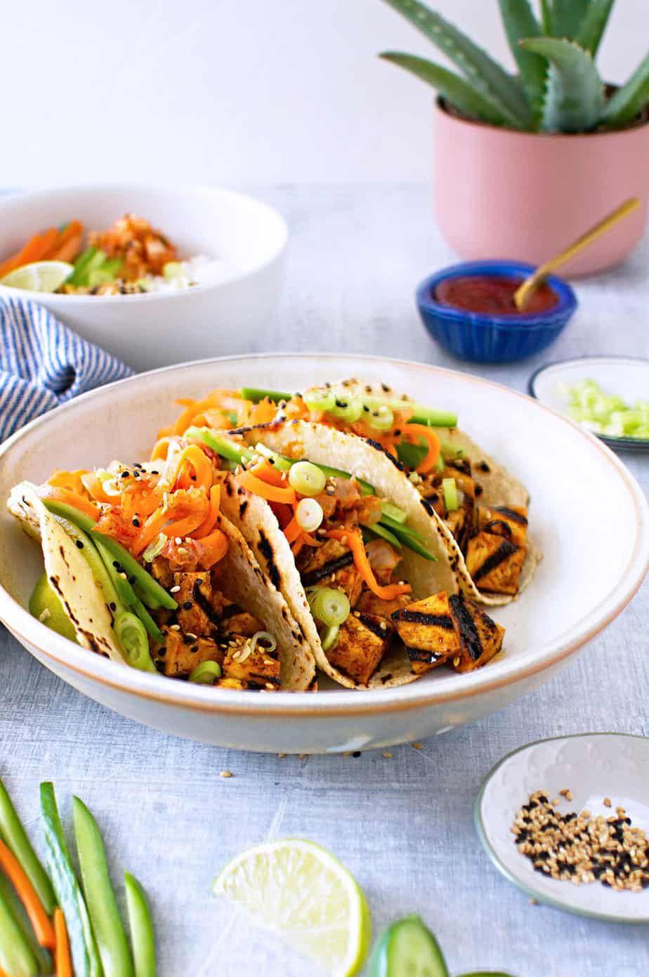 Grilled Tofu Tacos with Gochujang Glaze (Vegan and Gluten
