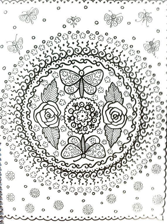 american hippie art coloring pages mandala rose butterflies