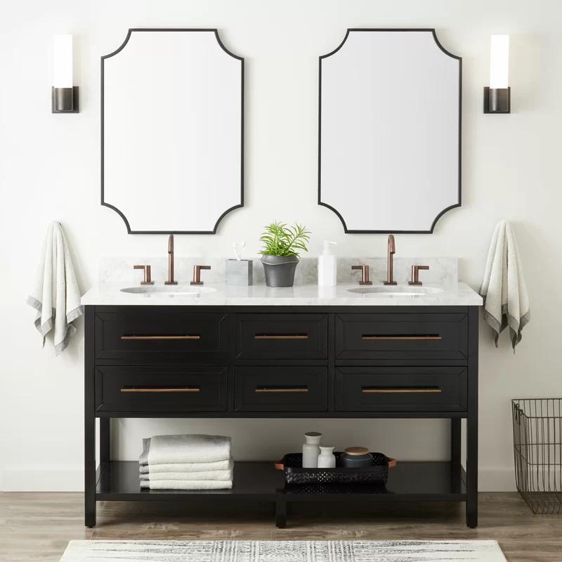 Robertson 61 Double Bathroom Vanity Set Joss Main In 2020 Double Vanity Bathroom Black Vanity Bathroom Single Bathroom Vanity