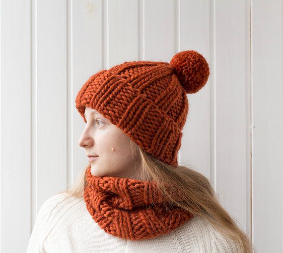 [READY TO SHIP]  Unisex hand knitted chunky seamless cowl and a hat in terracotta color. Stylish, cozy and super warm unisex set is made of