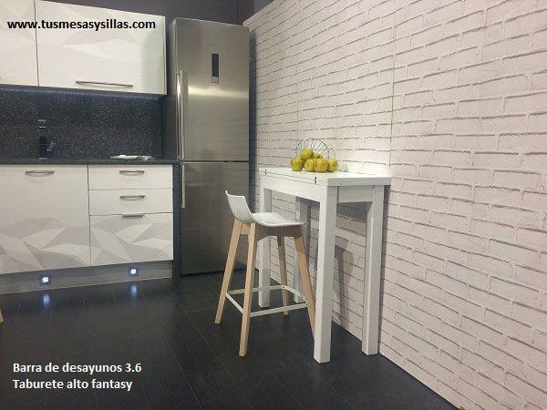Mesa alta extensible para cocina o comedor de estilo nordico de 90 ...