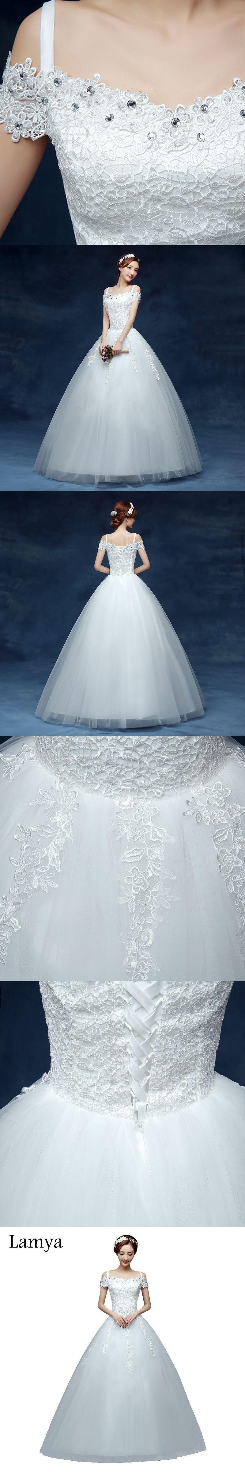Lamya 2017 Cheap Short Lace Sleeve Plus Size Boat Neck Wedding Dress ...