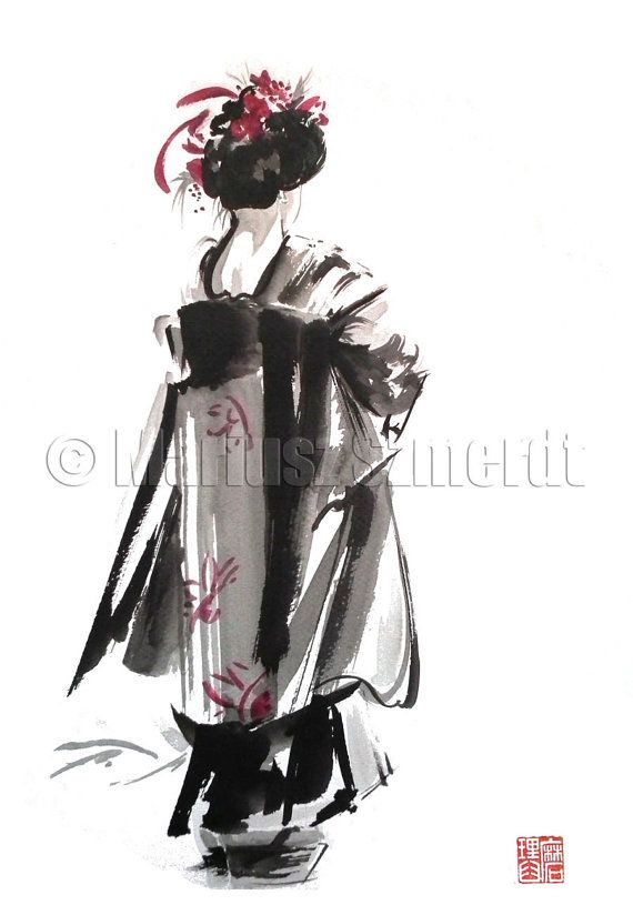 GEISHA Kimono Purple Pink dress coat shoes high quality GICLEE fine art print of watercolor and ink PAINTING $30