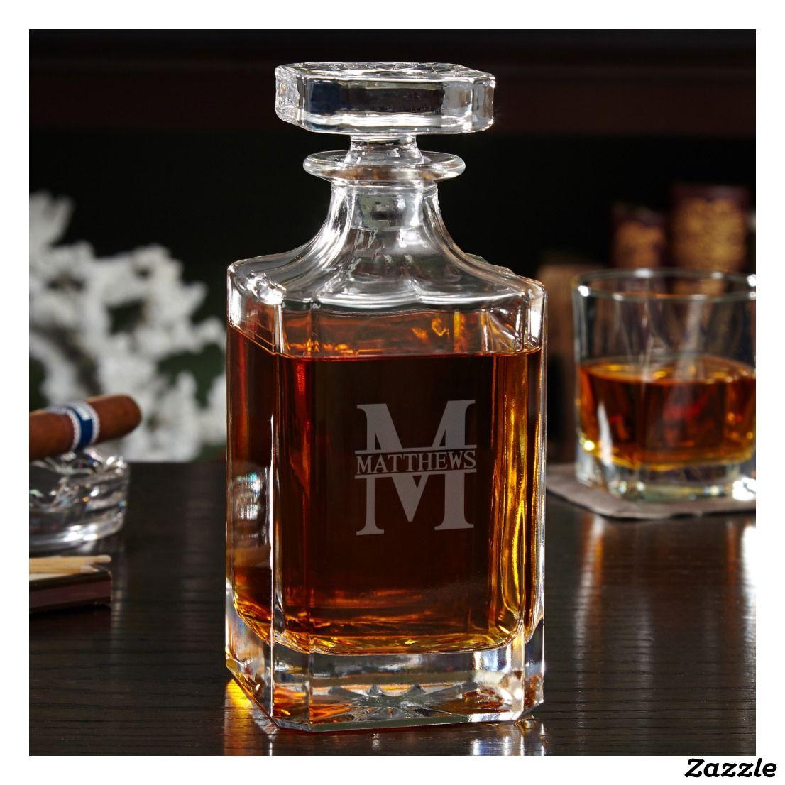 Engraved Oakmont Monogram Whiskey Decanter Zazzle Com Liquor Decanter Set Whiskey Decanter Set Whiskey Decanter