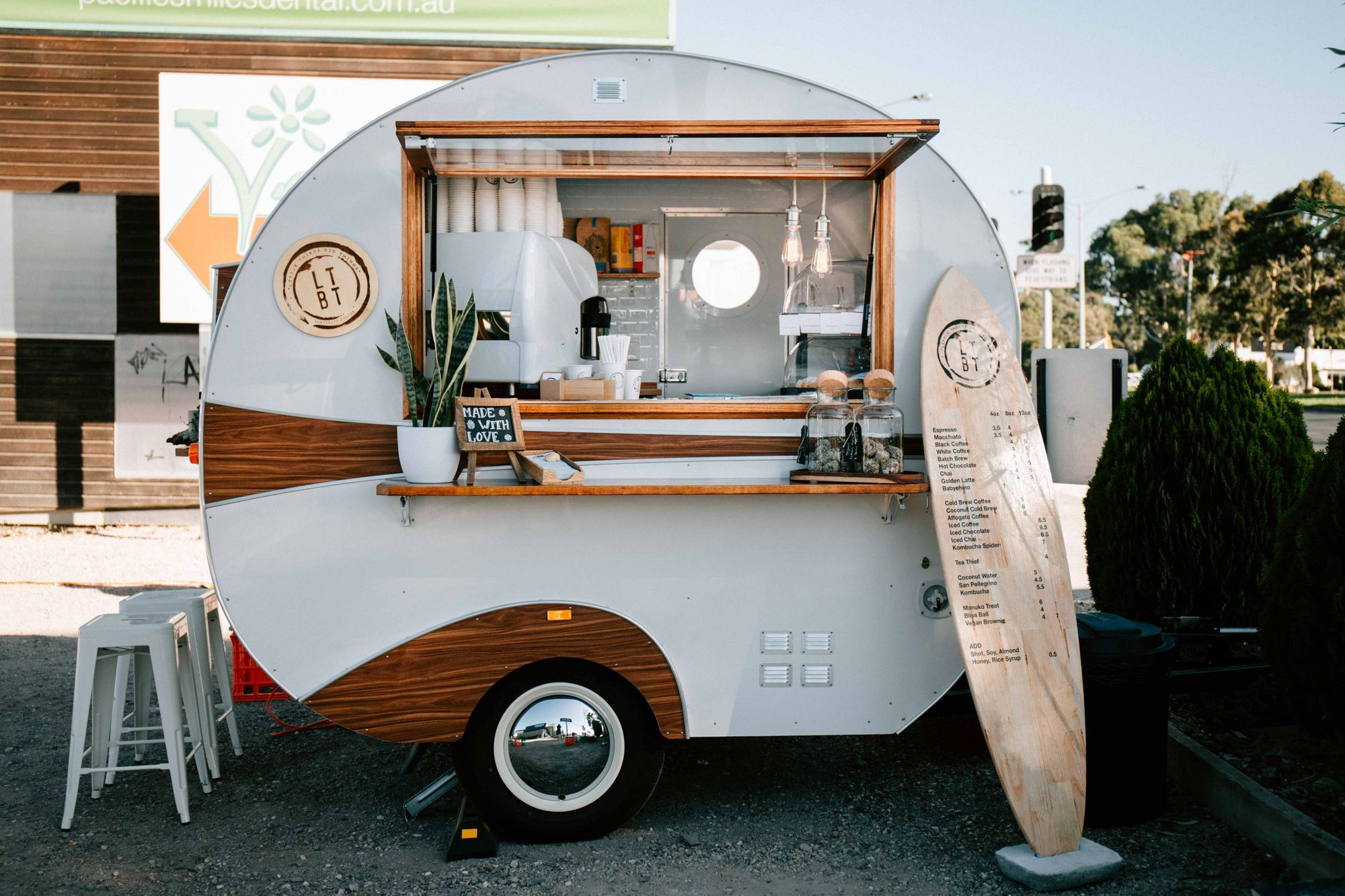 Our Cute Little Vintage Coffee Trailer On The Surf Coast Highway In Torquay In Coast Coffee Coffee Coffee Trailer Mobile Coffee Shop Vintage Coffee