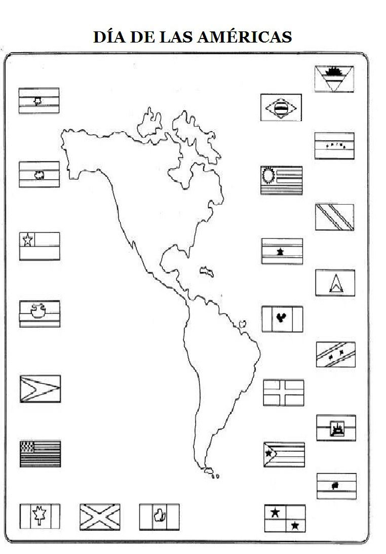 dia-de-las-americas-para-colorear-DIADELASAMÉRICAS1 | flags ...