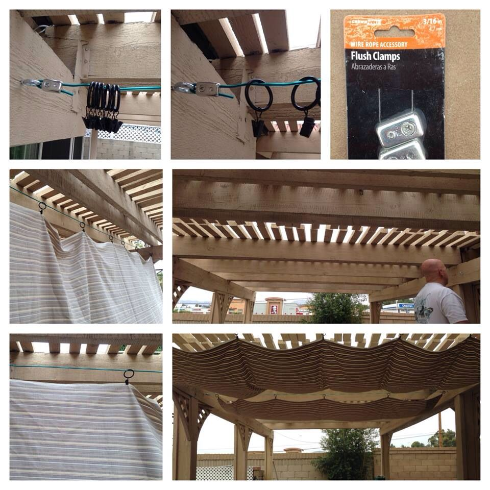 DIY patio canopies- 4 eye bolts, Teflon coated cable, flush clamps, shower curtain rings with clamps, fabric. Works great and you can change the fabric anytime you want. I got the fabric at Walmart. For one 8 foot section I got 3 yards of fabric. Christina Kulzer