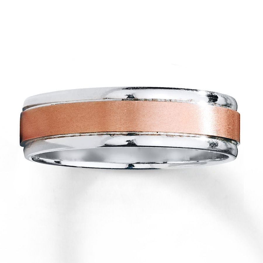 This Impressive 10k White Gold Wedding Band Is Embellished With A Stripe Of Brushed 10k Rose Gold T Mens Wedding Rings Mens Wedding Bands Womens Wedding Bands
