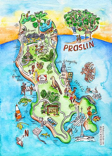Watercolor Series Of Illustrated Maps Of The Islands Of Seychelles