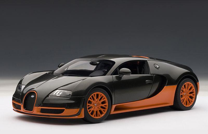 Delicieux Bugatti Veyron Super Sport   Carbon Black W/ Orange Side Skirts By AUTOart