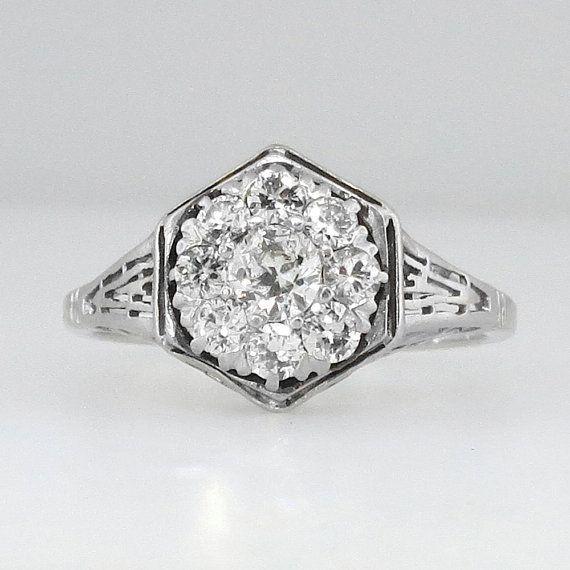 Glittering Impressive Art Deco Old European Cut Diamond Engagement Ring Platinum on Etsy, $2,450.00