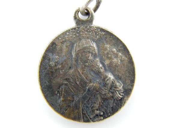 Vintage Theotokos - Sacred Heart of Jesus Catholic Medal - Our Lady of Perpetual Help Orthodox Religious Charm by LuxMeaChristus